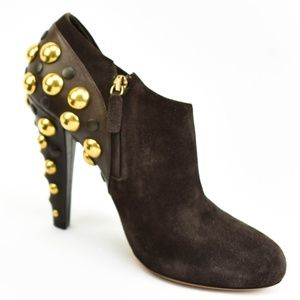 GUCCI: Dark Brown, Leather & Gold Studded, Boots